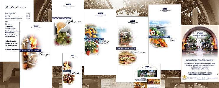 Graphic style for American Colony Hotel 5* (ads, brochures, menus and so on)