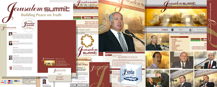 Graphic style for Jerusalem Summit International Forum (logo, Jerusalem Summits events design, brochures, white papers, souvenirs, books, web site and so on)